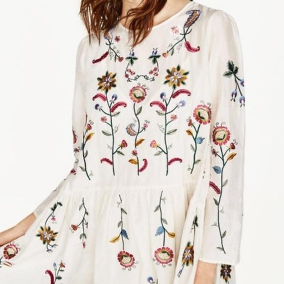2cea9c63 Zara Dresses | Silk Flowy Embroidered Dress With Flowers | Poshmark